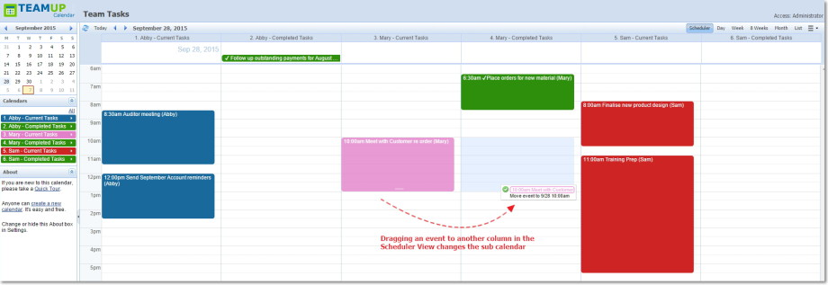 Change sub calendar to completed tasks in the Scheduler View