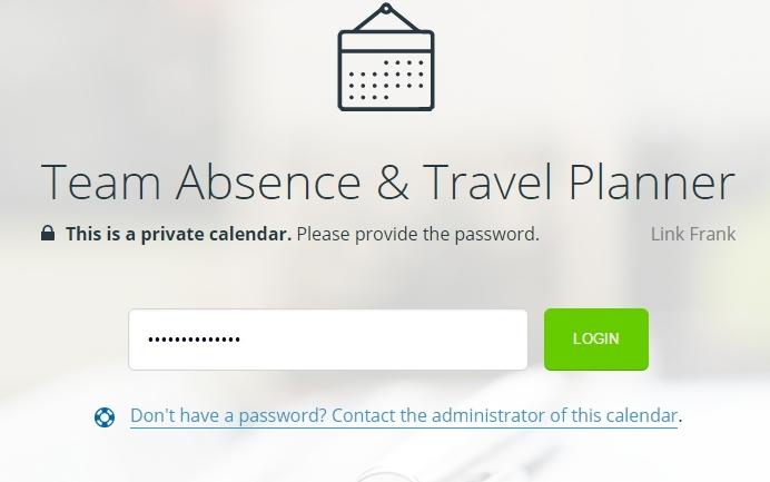 Calendar Password Protected