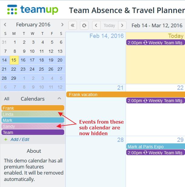 Hide sub calendars