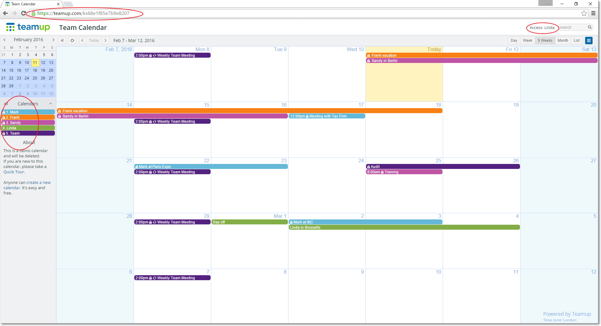 Sharing Calendar