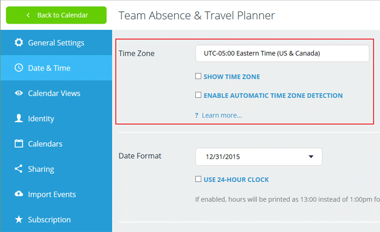 configuration of time zone for calendar