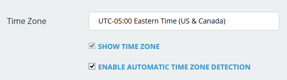 Time zone configuration