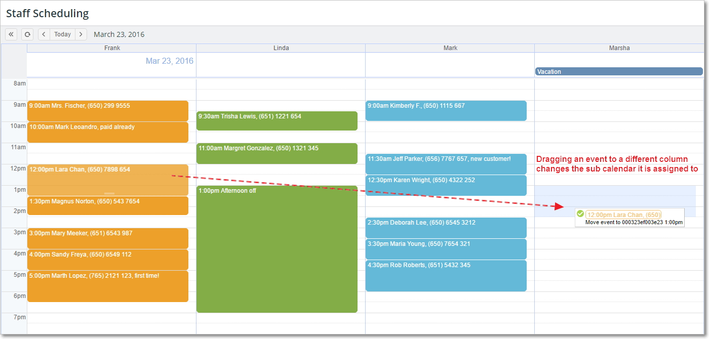 Drag events in the Scheduler view