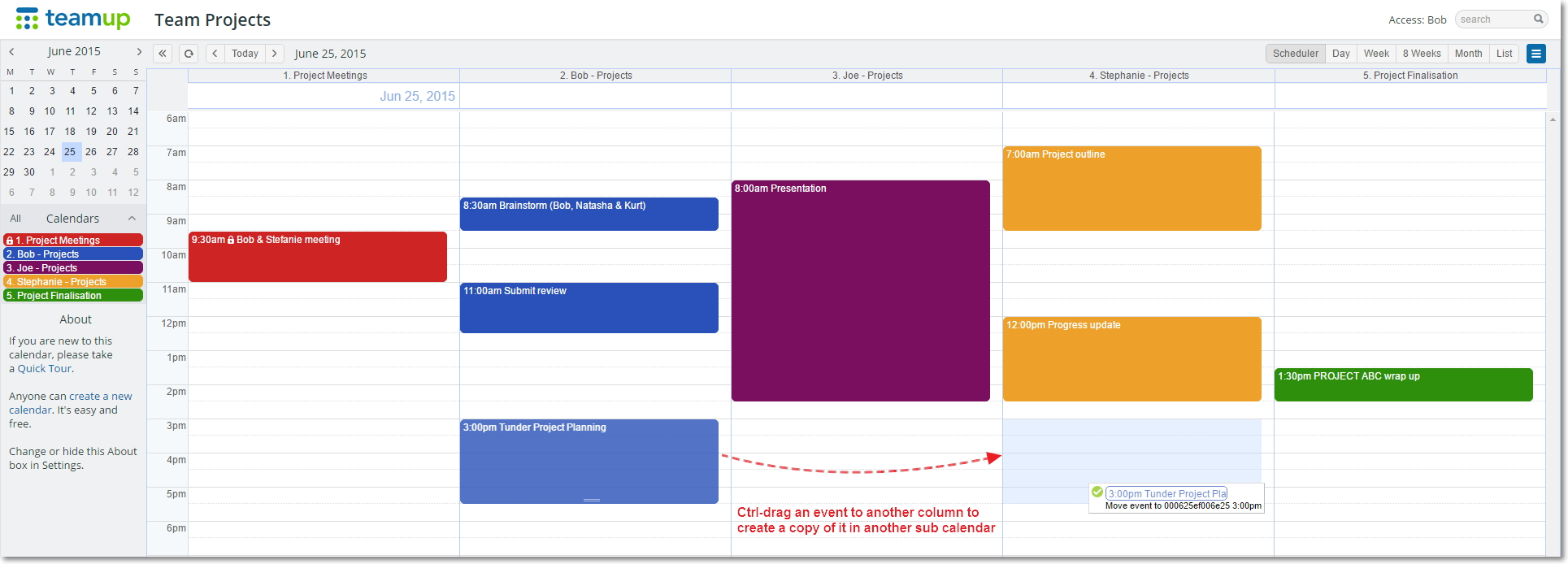 Click the image to see how to copy events in the Scheduler View