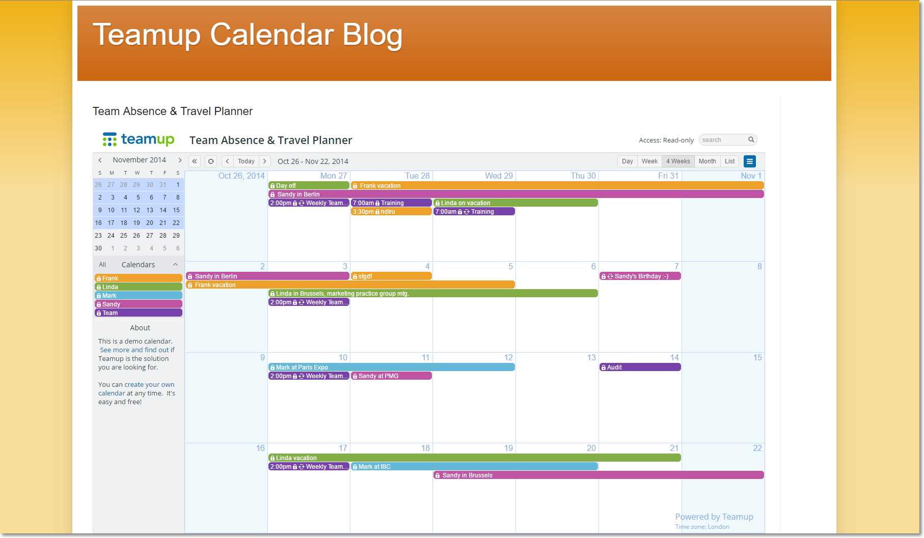 Team Absence and Travel Planner in blogger