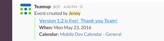 Teamup Calendar Slack Integration
