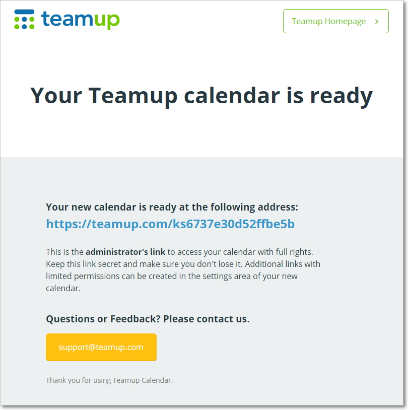 Your Teamup Calendar is ready