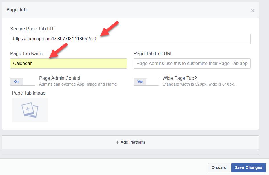 Add page tab URL