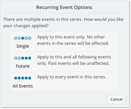 Recurring event options