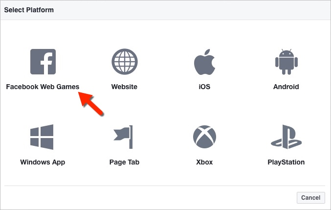 FB Add platform dialog