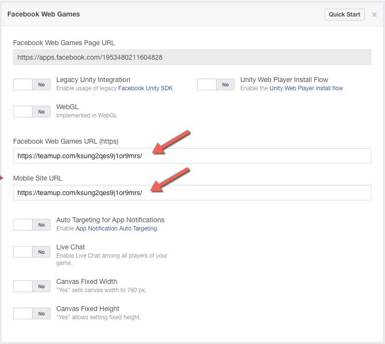 Facebook Web Game configuration