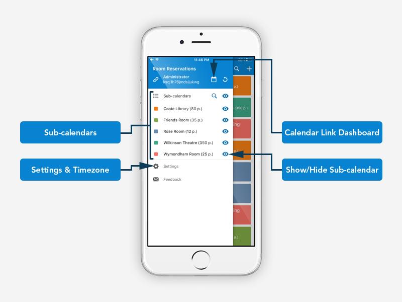 Teamup iOS app sidebar