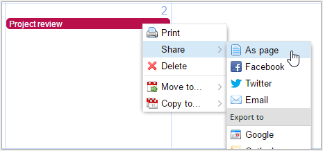 share event from right-click context menu