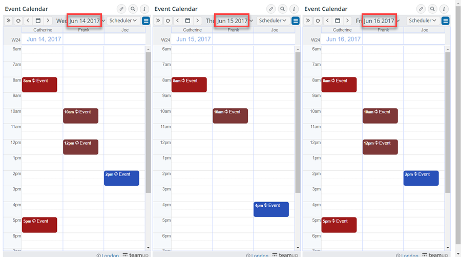 scheduler view in 3 consecutive days