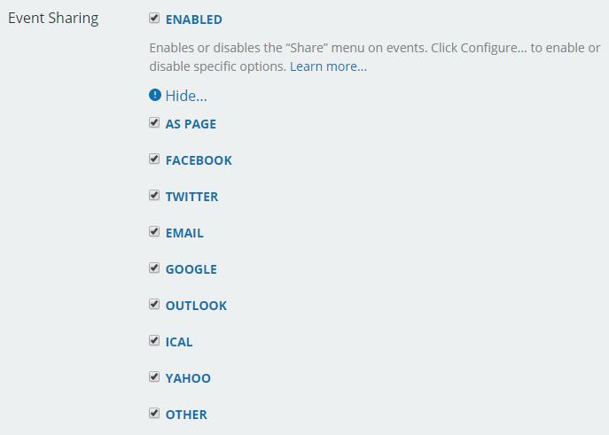 configure event sharing