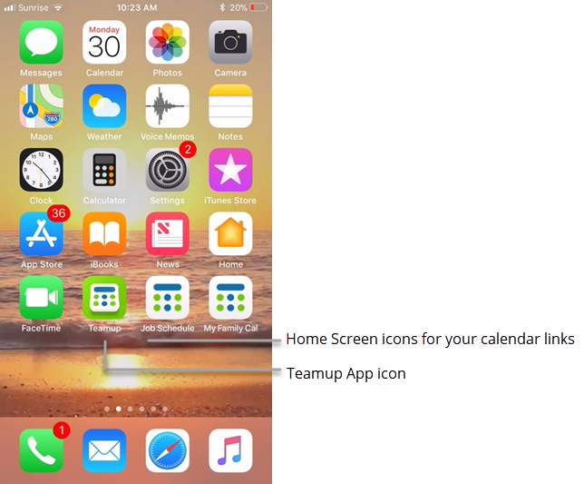Teamup icons on mobile home screen