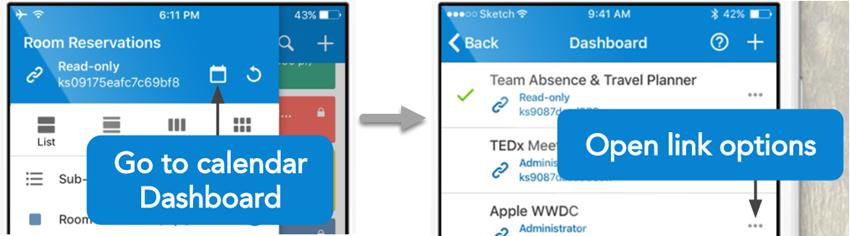 open calendar link from app