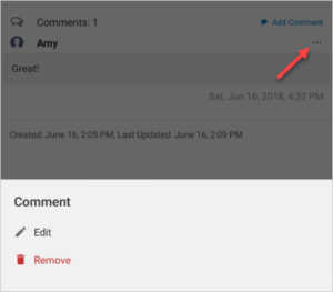 Use comment options in Teamup's android app.