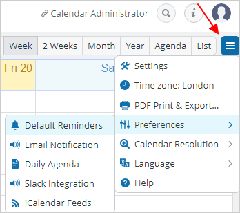 Set a reminder for all events on a selected sub-calendar.