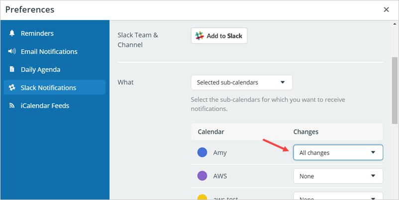 slack select sub-calendar