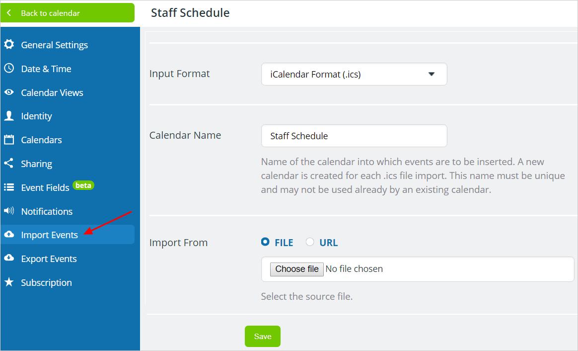 Import Data into Teamup Calendar