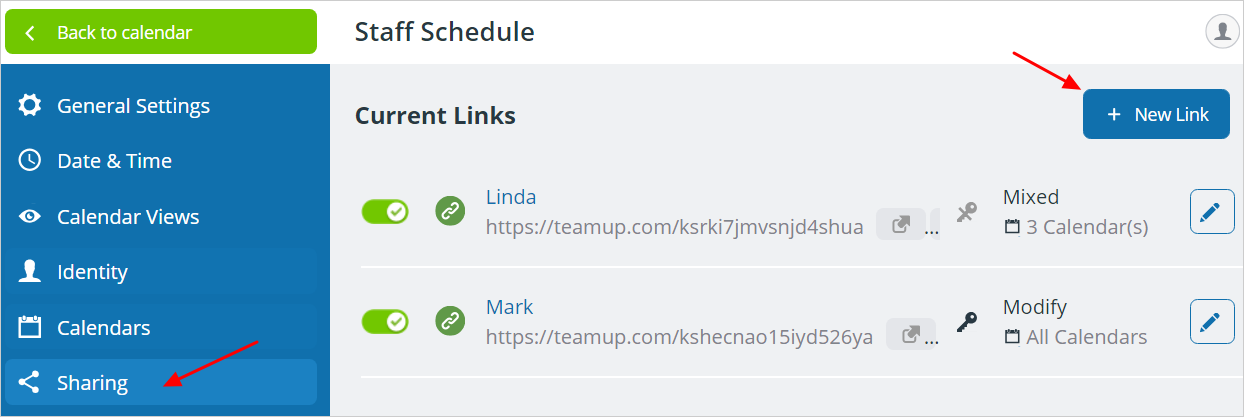 Managing Calendar Links: Add, Change or Delete User Links