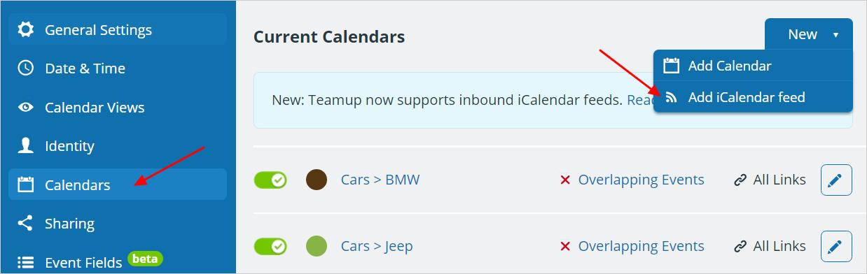 Inbound iCalendar Feeds: View Other Calendars in Teamup