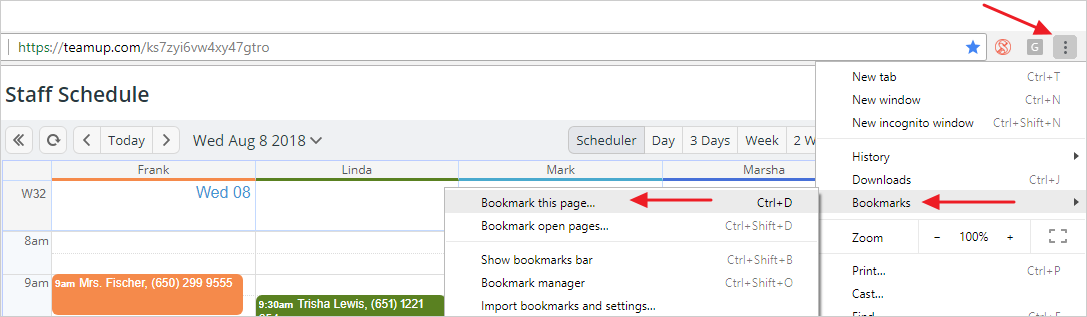 Calendar Shortcuts on Your Desktop