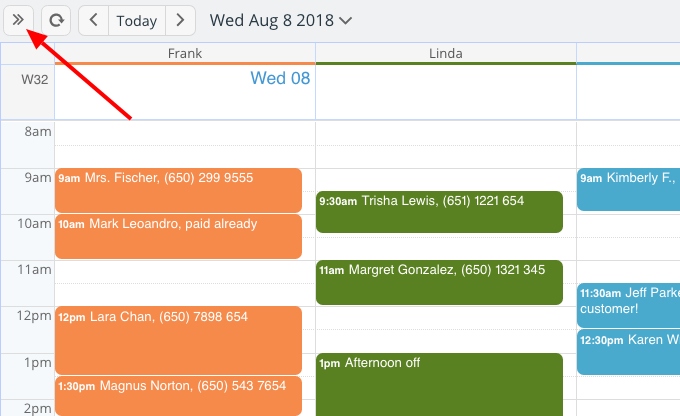Hide or show the entire control panel for your Teamup Calendar.