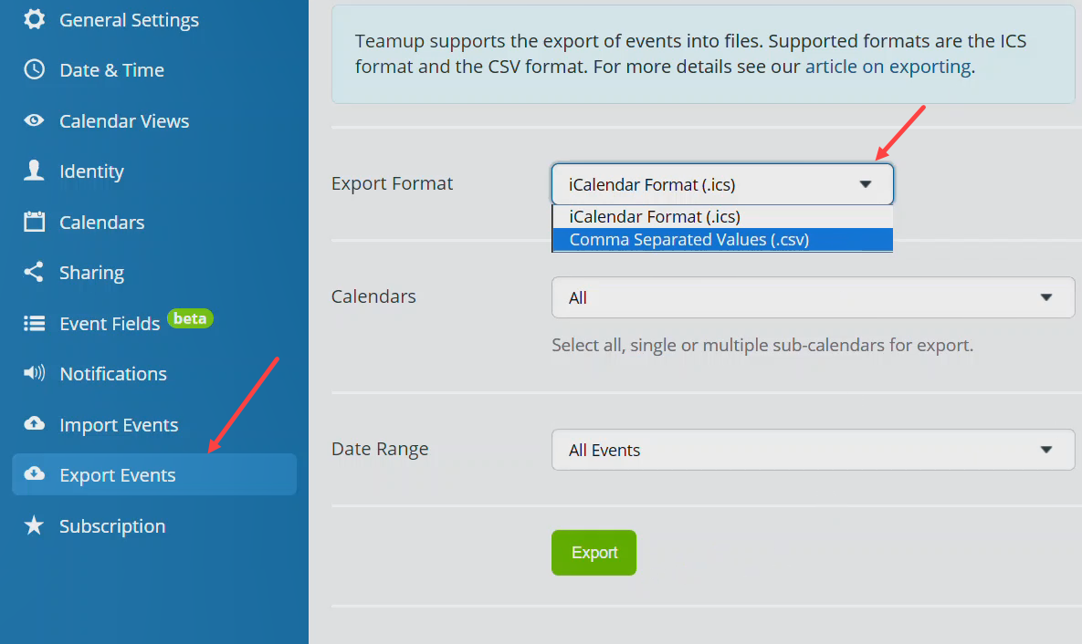 export calendar data to .csv or .ics files
