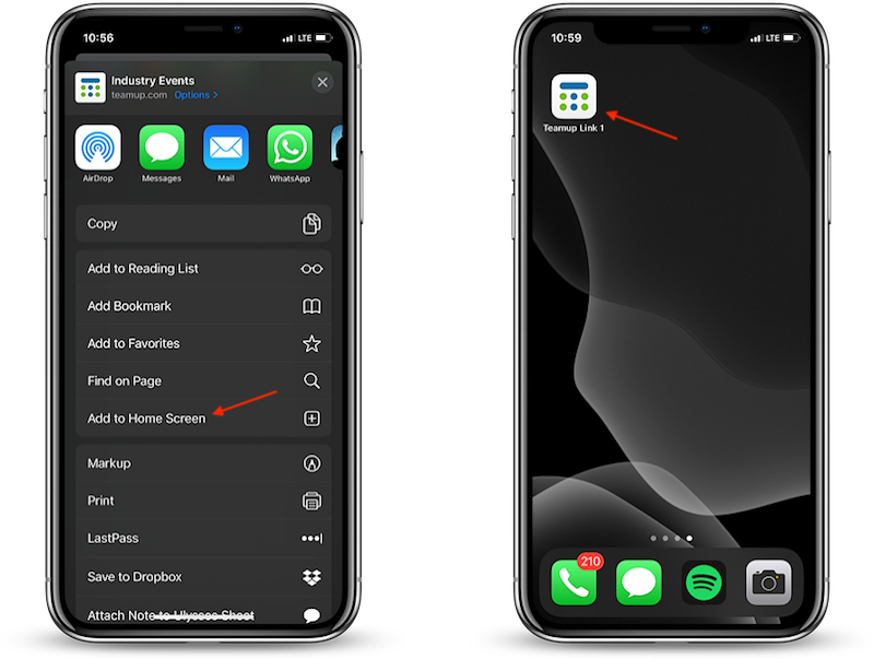 add a Teamup calendar shortcut to your iOS device homescreen