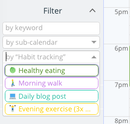 Filter on-screen events by custom event field choices.