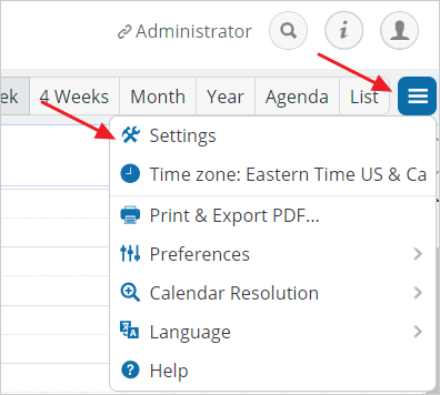 access calendar settings