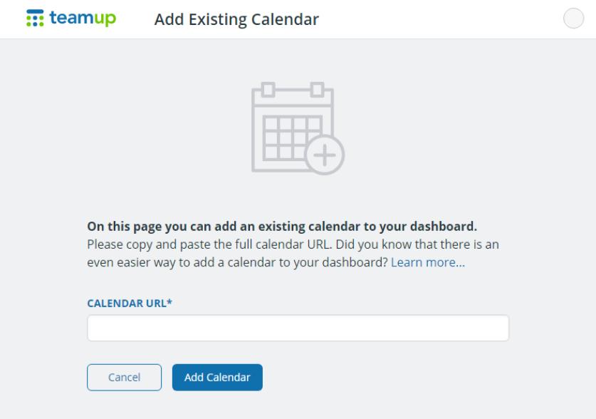 Add an existing calendar to account dashboard