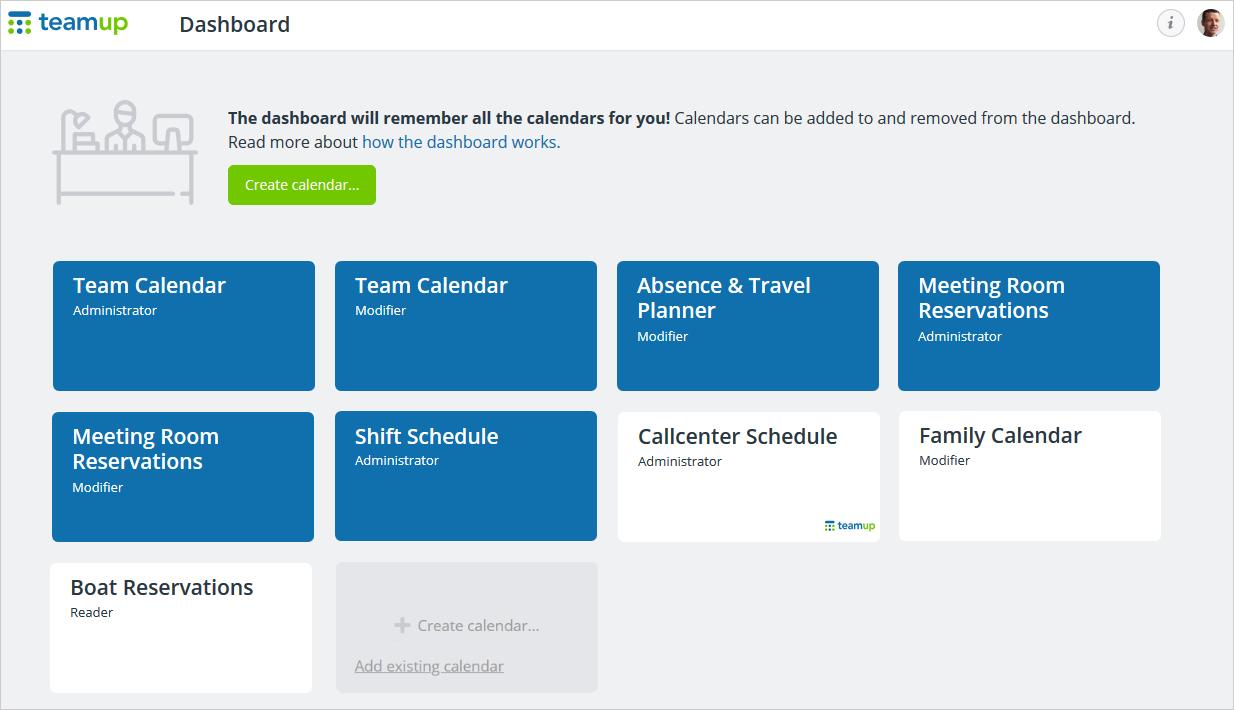 Teamup Calendar account dashboard