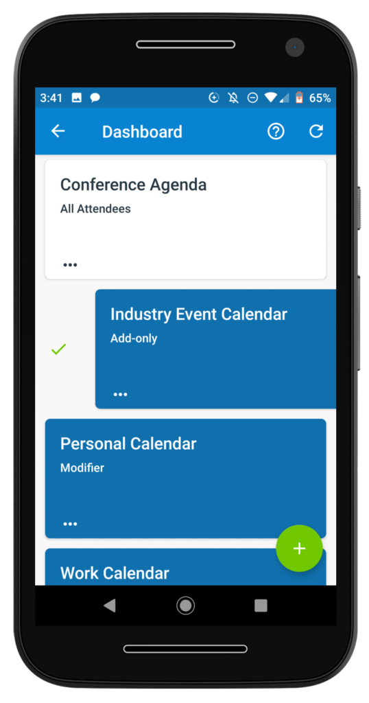 The synced calendar dashboard on Teamup's mobile app for Android