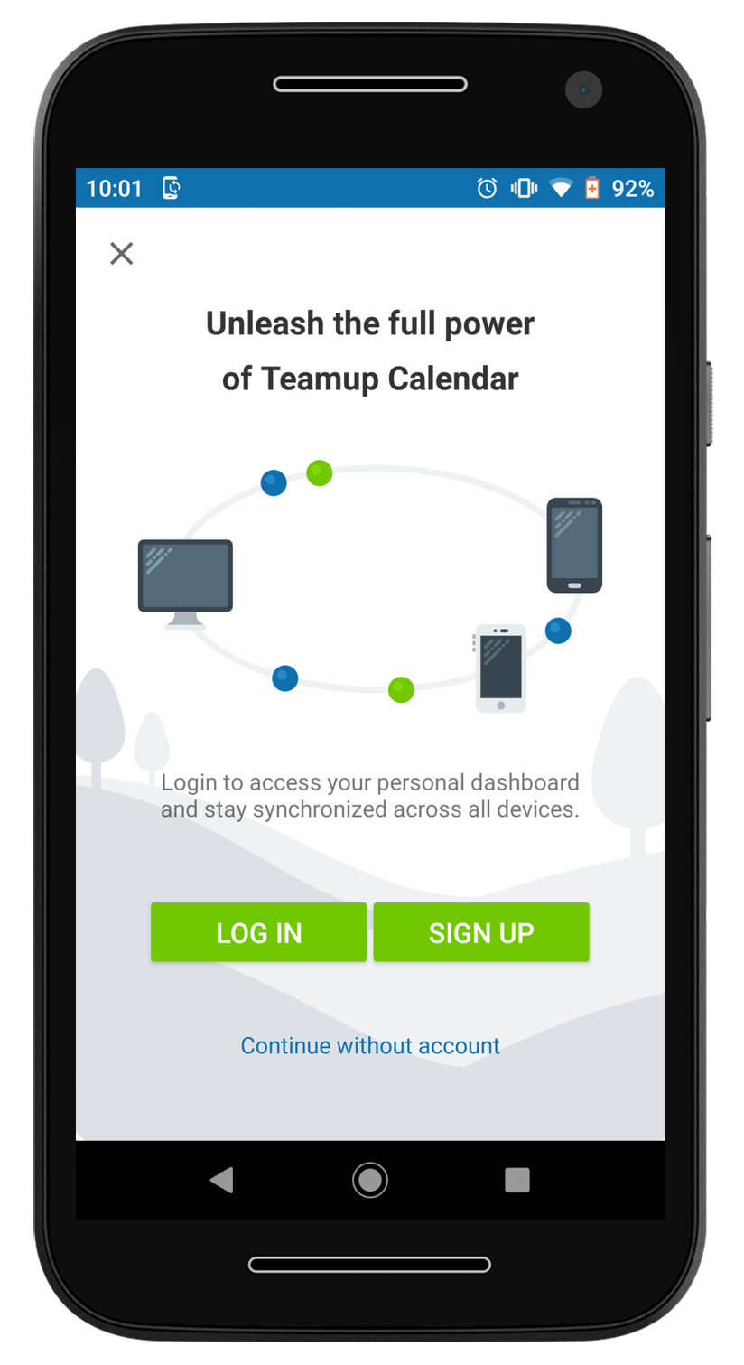The welcome screen on the Teamup mobile app for Android