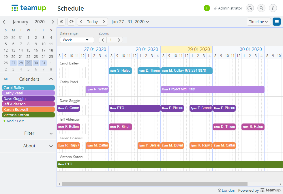 The timeline calendar view with Teamup