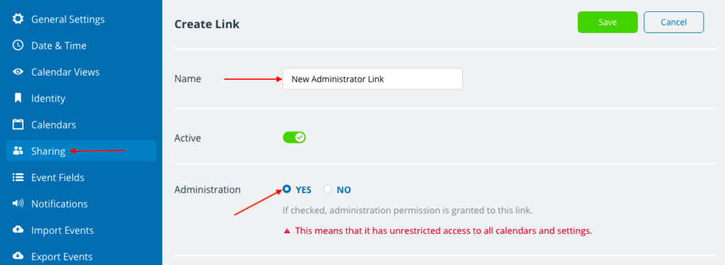 administrator link how to create