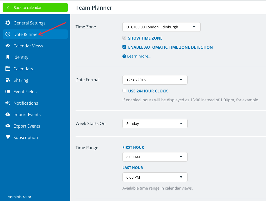 How to use Date & Time in your Teamup calendar