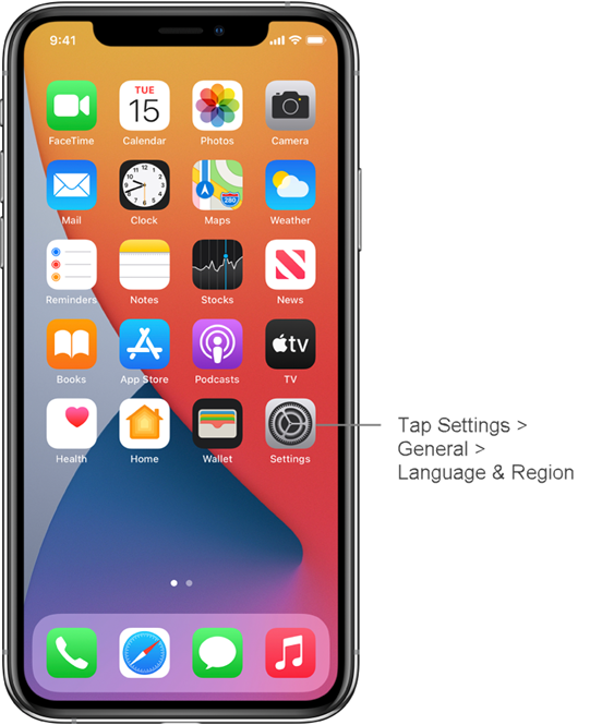 tap iphone settings to change app language