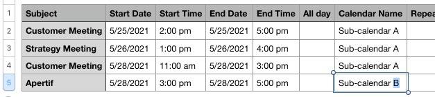 change calendar name in .csv file